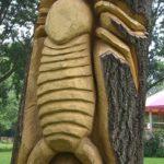 Sculpture sur bois arbre tronc Villeneuve d'Ascq Michel Cabusa parc du héron